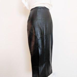 VTG Black Leather Pencil Skirt